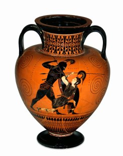 Amphora depicting Achilles killing the Amazon Penthesilea - attributed to Exekias. Attic Black Figure. c. 530-525 BCE. British Museum 1836,0224.127. http://www.britishmuseum.org/research/collection_online/collection_object_details.aspx?assetId=34520001&objectId=399372&partId=1
