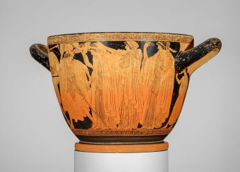 Drinking cup (skyphos) with the departure and recovery of Helen Greek Late Archaic Period about 490–480 B.C. Painter Makron, Potter Hieron
