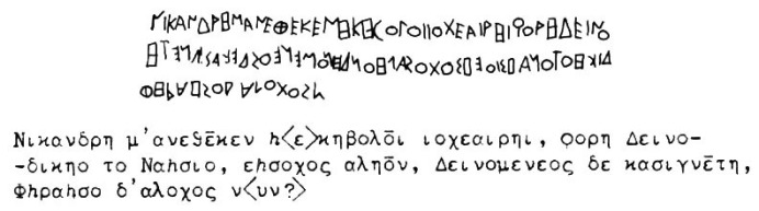 Inscription on Kore dedicated by Nicandre and its transcription. Source: https://www.beazley.ox.ac.uk/Sculpture/ashmolean/context/Nikandre.htm