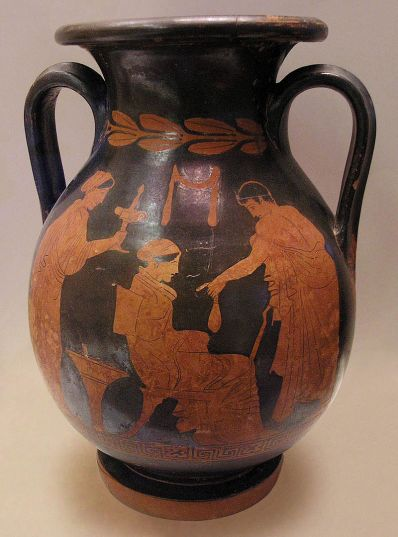 Youth giving a purse to a sitting hetaera (courtesan). Behind her stands a young woman carrying a plemochoe (toilet vase). Attic red-figure pelike (wine-holding vessel) by Polygnotos, ca. 430 BC. From Kameiros, Rhodes.