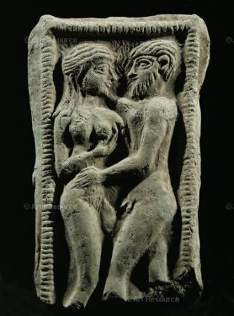 Couple embracing in a votive bed. Fertility rite. Hierogamus, from Susa, Iran. Terracotta, 2nd mill. BCE. Location:Louvre, (Museum), Paris, FrancePhoto Credit:Erich Lessing / Art Resource, NY