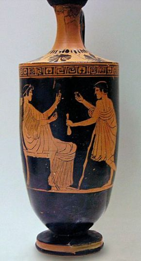 An hetaera and her client. Attic red-figured lekythos by the Painter of Athens 12778 (eponymous vase), ca. 460–450 BC. Found in Eretria. National Archaeological Museum in Athens, 12778. Source = wikimedia