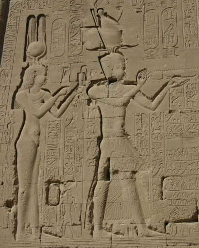Cleopatra VII and Caesarion at Dendera (wikimedia)