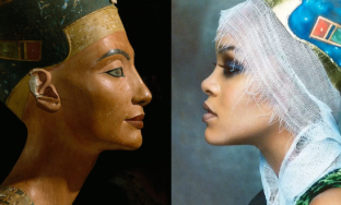 bust of Nefertiti (1345 BCE) and Rihanna for Vogue Arabia