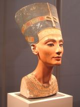 The iconic bust of Nefertiti is part of the Egyptian Museum of Berlin collection, currently on display in the Neues Museum 1345 BCE (wikimedia)