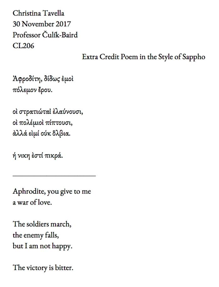 Christina Tavella Sappho Poem CL 206 Fall 2017
