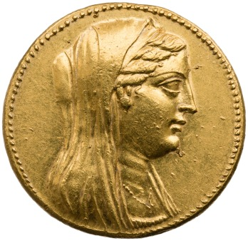 Gold decadrachm of Berenice II, Alexandreia, 246-221 BCE