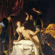 "Artemisia Gentileschi, ""The Rape of Lucretia"", 1645-1650, Neues Palais, Potsdam. Image: Wikimedia."